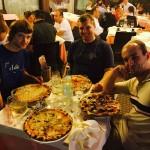 Enjoying a delicious Italian pizza